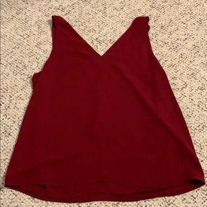 Maroon tank top with Criss cross back